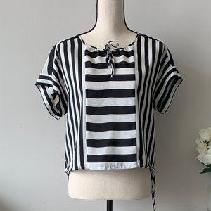 BCBG Maxazria Black and White stripe Blouse